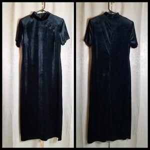 VTG Velvet Black Dress Chinese Inspired sz 12